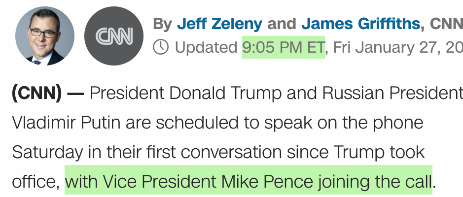 "CNN: ""President Donald Trump and Russian president Vladimir Putin are scheduled to speak on the phone Saturday in their first conversation since Trump took office, with Vice President Mike Pence joining the call."""